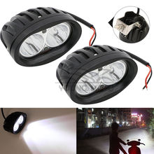 Pair 4 inch 20W 2000 Lumen Universal Motorcycle LED Work Light Spot Bicycle Off Road ATV 4WD Car Driving Fog Auxiliary Lamp(China)