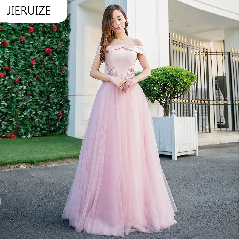JIERUIZE robe de soiree Pink Prom Dresses Long 2017 A-line Off the Shoulder Cheap Evening Dresses Formal Dresses abendkleider