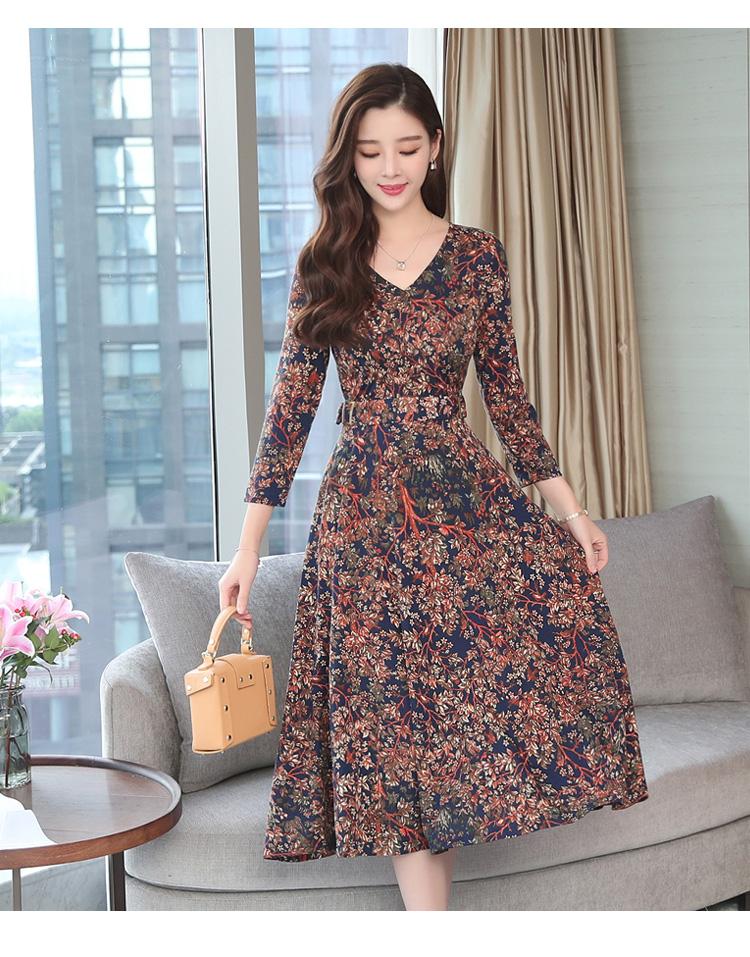 Autumn Winter New 3XL Plus Size Vintage Midi Dresses 2018 Women Elegant Bodycon Floral Dress Party Long Sleeve Runway Vestidos 37 Online shopping Bangladesh