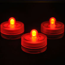 Super bright single LED Submersible candle tea light Waterproof Underwater Floral Light for Wedding/Valentine xmas Party- RED