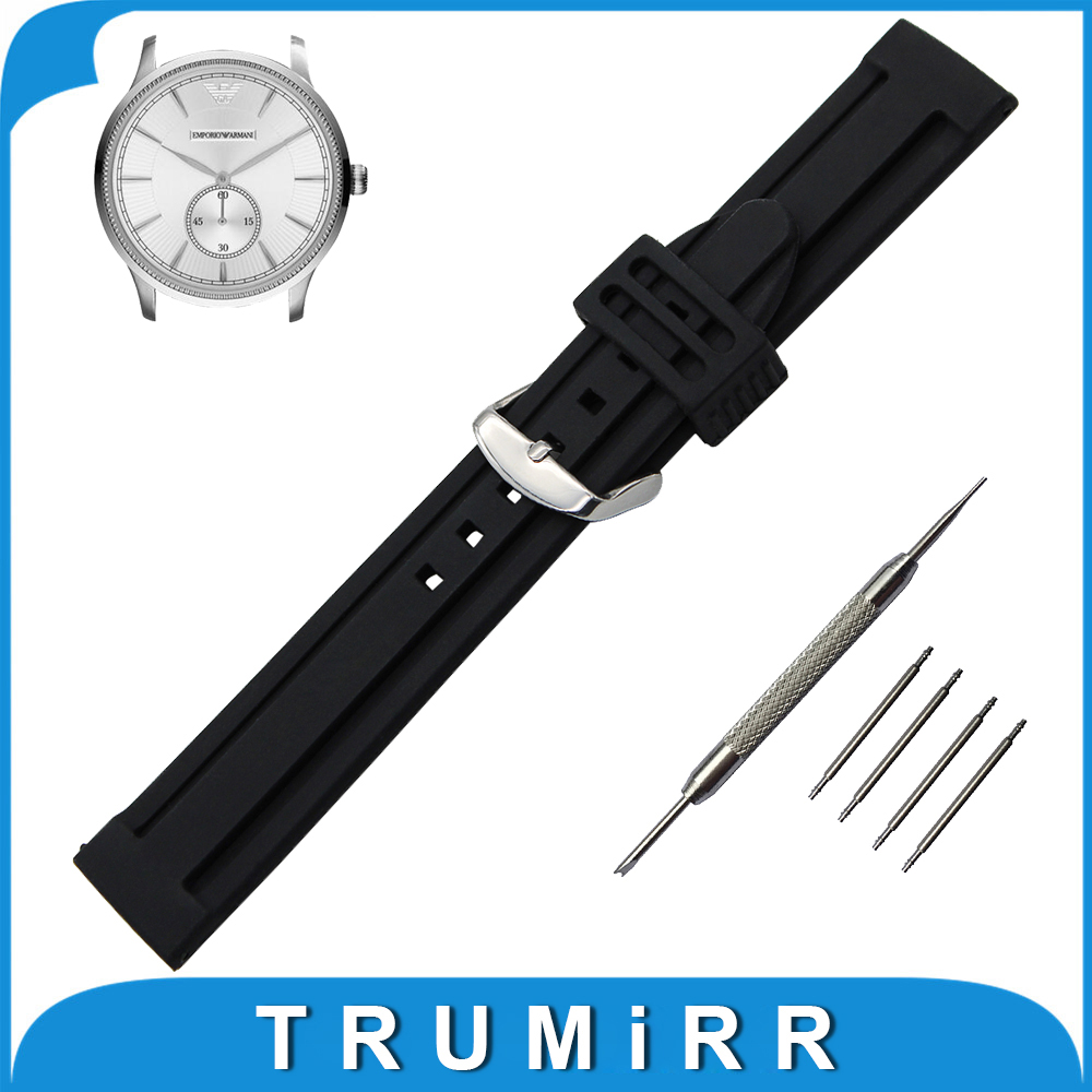 22mm 24mm 26mm Silicone Rubber Watch Band + Tool for Armani Watchband Stainless Steel Buckle Strap Wrist Belt Bracelet Black<br><br>Aliexpress