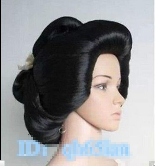 peruca hair queen Heat Resistant Cosplay party TJ *****Hot!!! Black Geisha Full Plate Hair Anime Cosplay Wig<br><br>Aliexpress