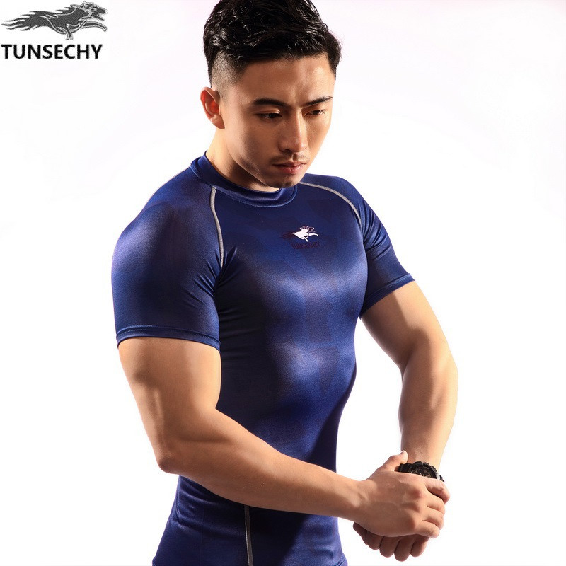 NEW Mens Compression Shirts Bodybuilding Skin Tight Short Sleeve Jerseys TUNSECHY brand Crossfit Outdoor sports bike t Shirt 251