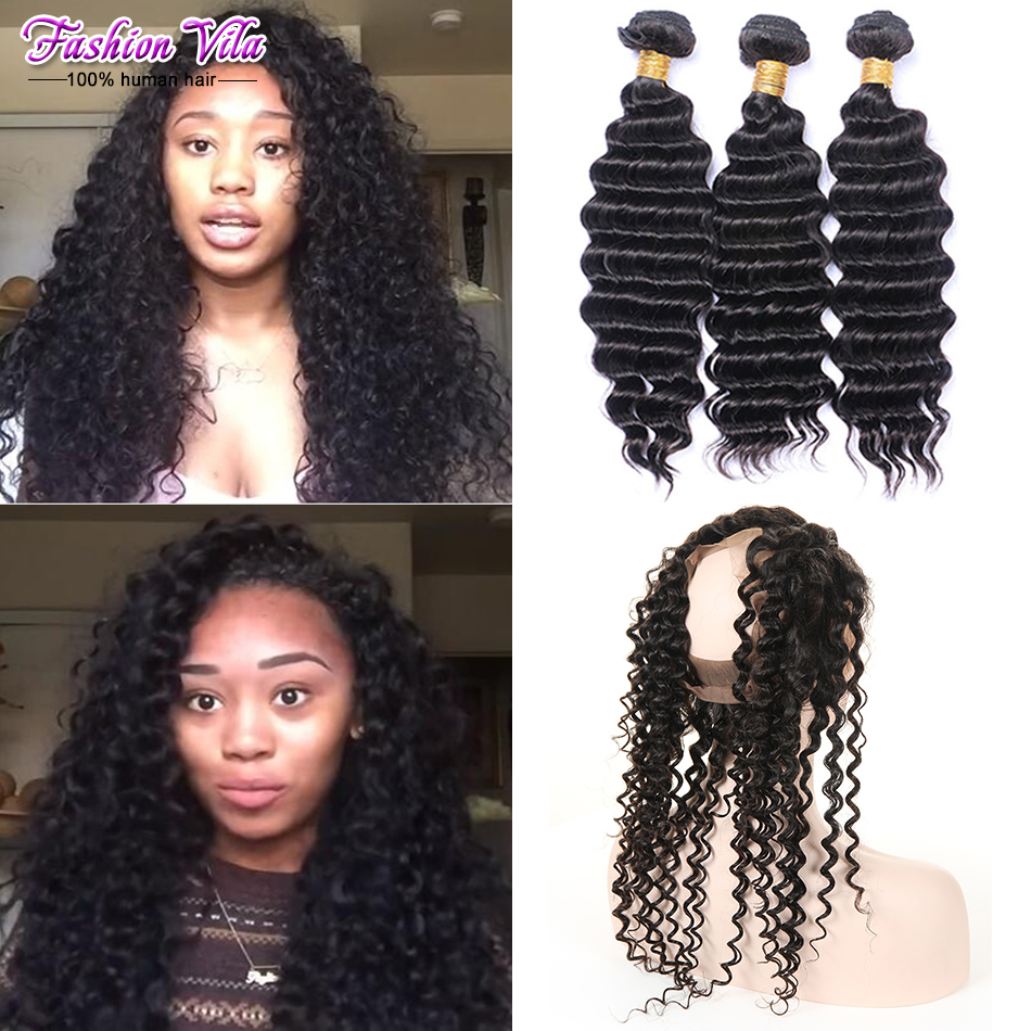 Pre Plucked Cheap 360 Lace Frontal With Bundles Deep Wave Brazilian Hair With Closure 360 Frontal Band Natural Hairline<br><br>Aliexpress