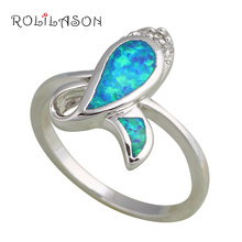Flower designer fashion brand new arrival products Fashion Jewelry Blue Fire Opal Silver Stamped Rings USA #5.5 #6.5 #7.5OR354