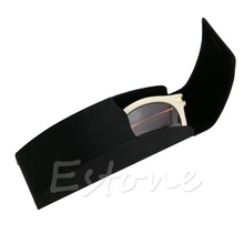 Black Leather Metal Arc Hard Case Box For Glasses Eyeglass Sunglasses Spectacles