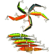 5Pcs/Set Double Steel Hooks Double Fish Nodes ABS Vivid 6# Fishing Lure 5 Colors(China)