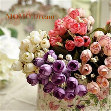 Colorful Silk Flowers artificial flower 15 heads Mini Rose Home Decor for wedding small roses bouquet decoration Party Favors(China)