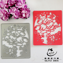 Hollow Frame Best Wishes Metal Cutting Dies Stencils for DIY Scrapbooking/photo album Decorative Embossing DIY Paper Cards