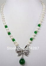 Designer Black  7-8 Genuine Pearl 12MM  Green Jades pendant  women Jewelry  Necklace 18inches