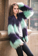 Funky Artificial Fur Coat Woman 2016 Warm Chic Chic Jacket Black Elegant Winter Jacket Coat Furry Party Glove Fur Clothing