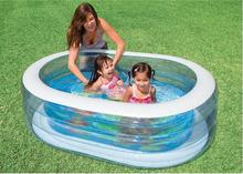 INTEX 57482 children's inflatable oval pool pool ball pool ocean sky blue wading pool size 163 * 107 * 46CM