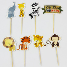 24pcs Jungle Safari Cupcake Picks Animal Cake Toppers Cartoon Cupcake Inserts Card Birthday Baby Shower Kids Party Favors