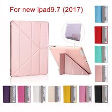 Shape Changing Case For iPad 9.7 inch 2017 Color PU Leather+Ultra Slim Light Weight PC Back Cover Cases For iPad 2017 New model