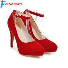 FAMSO 2018 Plus Size 34-43 New Spring Autumn thin Heels Pumps Black red Rhinestone Pumps Ankle Strap High Heels Elegeant Pumps(China)