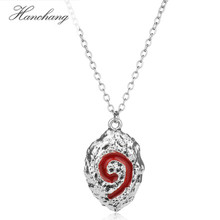HANCHANG Hot Online Game Hearth Stone Theme Red Pendant Link Chain Necklace for Female Fashion Party Jewelry Accessories(China)