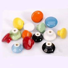 32mm European pastoral candy-colored ceramic handle Drawer Cabinet Wardrobe Doorknob Colored beads round red cabinet knobs(China)