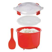 Plastic practical red mini microwave steamed cooking cup rice steamer bowl pot cooker kitchen utensils gadgets tools 2.6L(China)