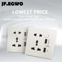 JF.EGWO USB Wall Socket with 2 USB Port and Switch Universal Wall Socket Power Outlet plate adapter for smart phone energy save