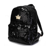Womens Fashion Cute Girls Sequins Backpack Paillette Leisure School Bookbags Leather Backpack Ladies School Bags For Teenagers(China)
