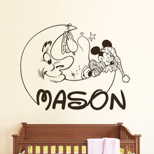 N016 Carton Personalized Mickey Mouse Decals Name Wall Decal Nursery Room Decor Free shipping