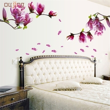 Oujing wall sticker Removable PVC Fresh Nature Magnolia Flower pattern Decal Wall Sticker for Home Decor poster Aug17