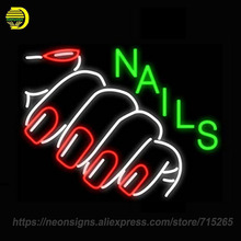 Neon Signs For Nails with Red Nails Sign Real Glass Tube Letrero Neon Bulbs Fantastic Artwork Beer Neon Bar Lamp Bright 24x20(China)