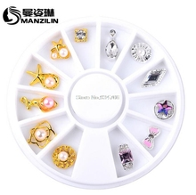 MANZILIN sp0053 12pcs/Box Gold Silver Bow Flowers Design Alloy Nail Decoration Wheel 3D Charm Nail Jewelry Accessories(China)