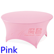 Pink colour wedding table cloth lycra table cover spandex table linen hotel banquet party round tables decoration on sale(China)