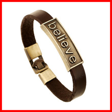 Fashionable Believe Text Engraved Metal Bracelet Customer Style Latest Mens Leather Cuff Bracele