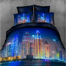 New Cheap 3D Printing Bedding Set Night City High-rise Buildings Blue Duvet Cover Set 4-pieces Flat Sheet with Pillowcases