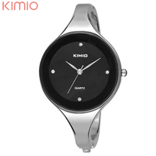 KIMIO Cuff Bracelet Watch Hot Sell Silvery Round Face Quartz Bracelet Bangle Watch for Women Clocks
