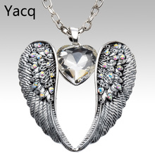 YACQ Wings Heart Necklace Pendant W Chain Antique Silver Color W Crystal Women Girls Biker Bling Jewelry Gifts Dropshipping NC06(China)