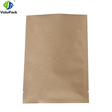 "Fast shipping 14x20cm (5.5x7.8"") three side seal flat bottom open top bag resealable brown kraft paper bags for coffee tea(China)"