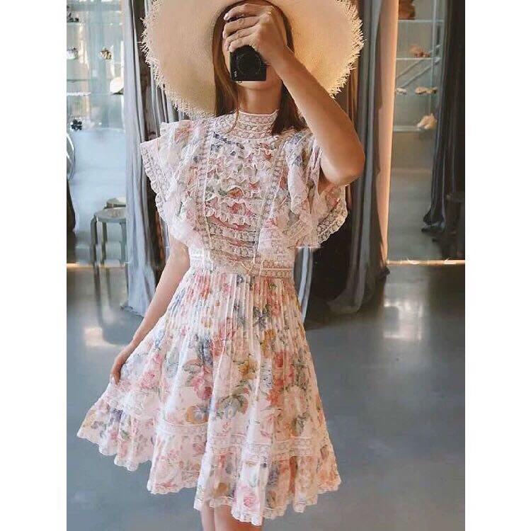 High quality New Fashion Women 2019 Summer Dress Luxury famous Brand European Design  party style dress    WD05330