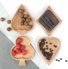 1 pcs wood heart shape plate Japanese small  Creative dessert dish fruit bowl dried fruit tray poker cake dish small sauce dish