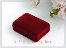 40pcs/lot High Quality Dark Red Velvet Jewelry Box 8x6x3cm Necklace Pendant Gift Box Jewelry Display Packaging Box Case