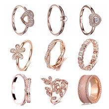 New Arrival Rose Gold Color Cubic Zirconia Flower Heart & Twist Of Fate Stackable Pandora Ring For Women Original Jewelry Gifts(China)