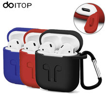 DOITOP For Apple Airpods Silicone Case Soft Cover Protector with Dust Plug Anti-Lost Strap Sleeve Pouch for Air pods Earphone(China)