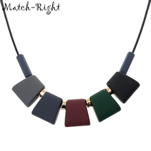 Match-Right Women Necklace Statement Necklaces & Pendants Colorful Wood Beads Necklace For Women Jewelry SP003(China)