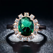 Fashion Green Emerald CZ Diamond rose gold plated rings for women wedding engagement female ring women jewelry anillo bague K124