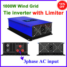 Wind grid tie power inverter MPPT 1000w 1kw 3 phase ac 22-65v 45-90v free shipping with limiter function and dump load resistor(China)