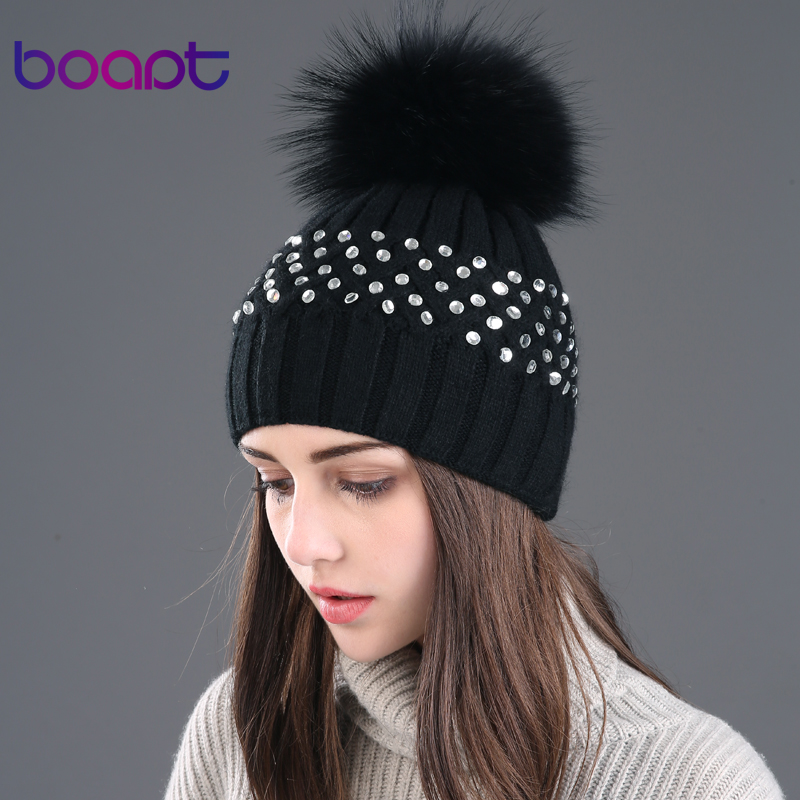 BOAPT rhinestones diamond double-deck rabbit  knitted hat natural raccoon fur hats for womens winter caps female pompon beaniesОдежда и ак�е��уары<br><br><br>Aliexpress