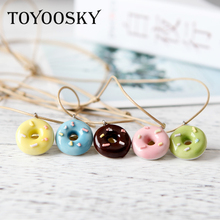 Buy TOYOOSKY Cute Colorful Donuts Fresh Ceramic Pendant Necklace Students Girl Best Friends Handmade Resin Charm Jewelry Gift for $1.04 in AliExpress store