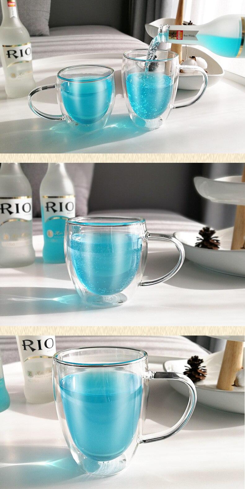 Loulong ® double paroi verre œuf forme Cappuccino Latte Mug Café Froid//Chaud
