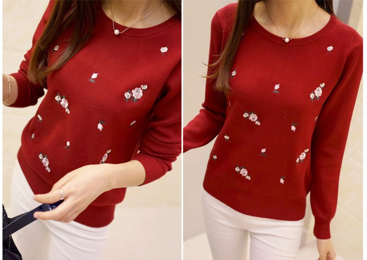 S-3XL New Youth Women's Sweater Autumn Winter 17 Fashion Elegant Peach Embroidery Slim Girl's Knitted Pullover Tops Female 20