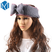 MISM Girl Warm Winter Knitted Headband Crochet Turban Bow Knot Stretch Head Wrapped Ear Warmer Tie Bandeau Buckle Hair Band(China)