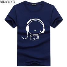 BINYUXD Top Kwaliteit T-shirts Mode Headset Cartoon Gedrukt Casual T-shirt Mannen Merk T-shirt Katoenen T-shirt Plus Size 5XL(China)