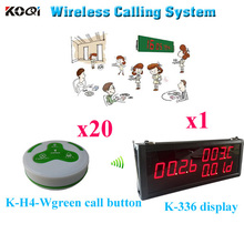 Wireless Waiter Call Button System Restaurant Buzzer Bell Pager ( 1pcs display+ 20pcs call button)(China)