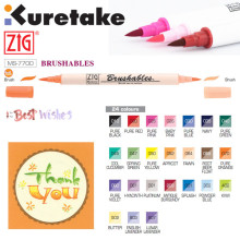 ZIG Kuretake MS-7700 Waterproof BRUSHABLES Brush up on colour Watercolor Brush Pen Painting Twin Tip Dark & Light Markers Japan